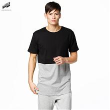 T-Shirt Tall Curved pocket Black/Grey Melange