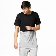 T-Shirt Tall Curved Pocket Black/Grey/Melange