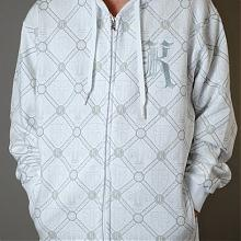 HERALDIC ALL OVER ZIP HOODY White